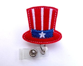 Retractable Badge Holder - July 4th Patriotic Hat red felt badge reel - Nurse badge reel medical badge reel