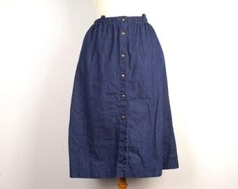 A Line Dark Denim Skirt 70s 80s Vintage Midi Brass Snap Cotton Jean Skirt 25 to 28 inch waist size 10 medium Barclay Petites