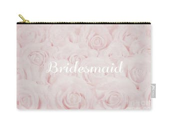 "Blush Pink ""Bridesmaid"" Makeup Bag, Clutch, Pouch, floral print, gift for bridesmaid, bridesmaid gift, destination wedding- 1610PKBRIDESMAID"