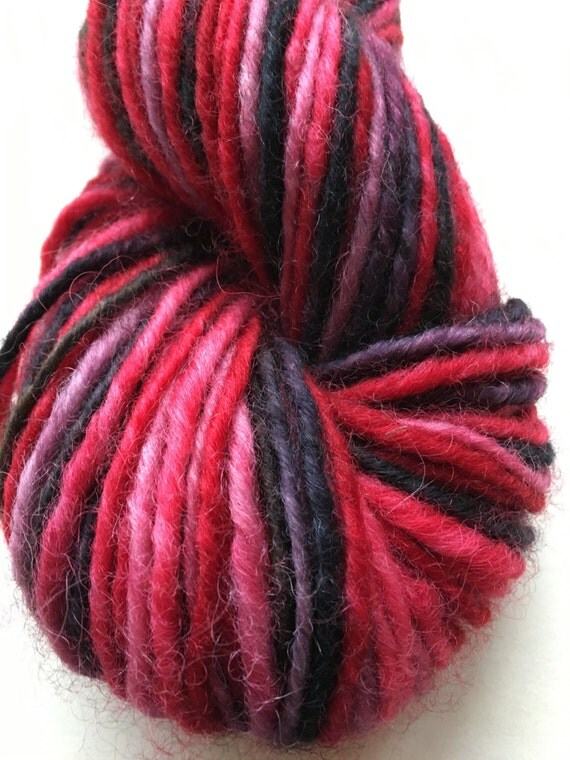 Red and Black Variegated Maine Wool Lopi
