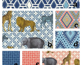 Custom Crib Bedding You Design Zoo Navy Coral Elephants Zoo Animals, bumper,skirt,fitted sheet, blanket, rail guards, changing pad