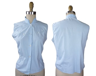 Late 1950s to early 1960s Baby Blue Gingham Sleeveless Blouse