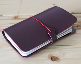 Wine (Burgundy) LEATHER JOURNAL COVER: Midori - Moleskine - Field Notes - A5 A6 - All sizes available - Free Personalization