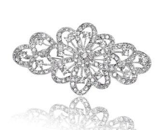 Crystal Rhinestone Brooch for Wedding Bridal Sash, Cake Decoration, Gift Box, Ring Pillow, Bouquet BRO-036 (10CM  or 4 inch)
