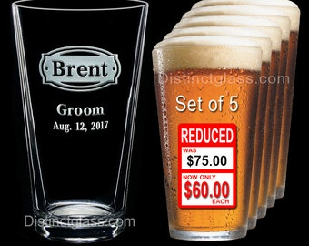 Groomsman - Best Man - Groom - Set of 5 Personalized Etched PINT BEER GLASS - Ships to Canada