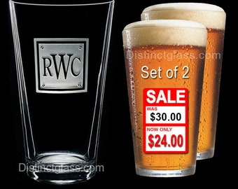 Groomsman - Best Man Gifts - Groom - Set of 2 Personalized Beer Glass Etched Monogram Glass Gifts for Groomsmen - Ships to Canada & U.S.A.