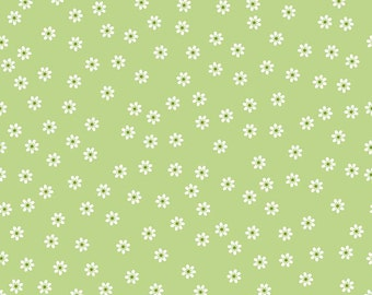 Sew Cherry 2 Fabric Green Daisy Fabric Lori Holt Fabric Riley Blake Sew Cherry Fabric Green Quilting Fabric - By The 1/2 Yard