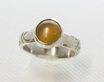 Peach Moonstone Ring in Sterling Silver Size 7