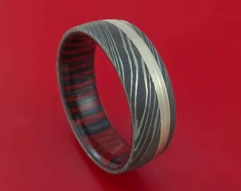 Damascus Steel Band with 14k White Gold and Applejack Wood Sleeve Custom Made