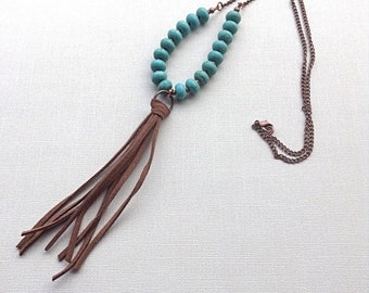 Beaded Boho Necklace - Bohemian Necklace - Long Tassel Necklace - Long Boho Necklace - Christmas Gift for Her