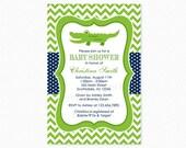 Alligator Baby Shower Invitation, Crocodile Baby Shower Invitation, Green, Blue, Personalized, Printable or Printed