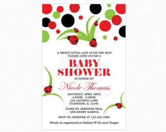 Ladybug Baby Shower Invitation, Ladybug Theme Invitation, Polka Dots, Personalized, Printable or Printed