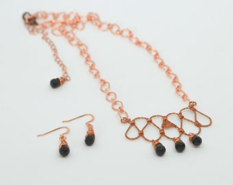 Copper and Glass Necklace and Earring Set