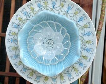 Blue Daisies Roses Chintz Repurpose Glass Plate Flower vintage Garden Art