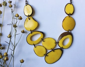 Yellow necklace. Tagua nut jewelry. Ethical Jewelry. Yellow statement Necklace. Sela Designs. Tagua necklace. Charity jewelry.
