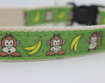 Monkeys and Bananas hemp dog collar or leash