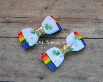 Shamrock and rainbow bow tie bows....green and gold..over the rainbow...st. patty's day..hair bows, hair clips, headband, girl, baby