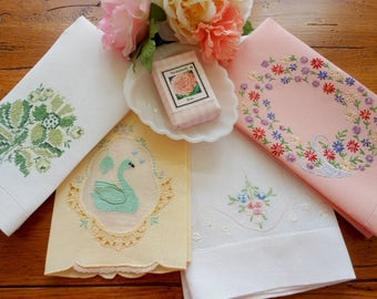4 Pretty Vintage Handtowels Hand Embroidered And Appliqued Vintage Hand Towels Bonus Hand Made Soap Free Shipping