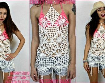 Crochet Top Pattern - Granny Square Crochet Top - Crochet Tank Top Pattern - Crochet Swimsuit Cover -  Crochet Lace - Crochet Shirt Guchet