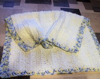 baby blanket chenille blanket pram blanket soft cosy baby wrap crochet baby - Chenille Blanket