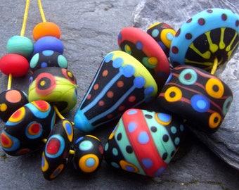 Boho Fun - Handmade Lampwork Glass Beads (16) by Anne Schelling, SRA