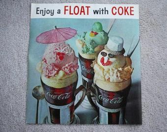 Vintage Original 1961 Coca-Cola Diner Poster, ENJOY a FLOAT with COKE; Unused Advertising, Excellent Condition