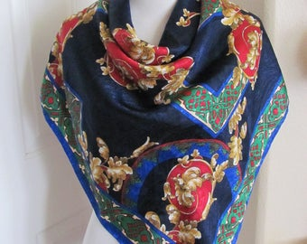 """Large Dark Blue Colorful Soft Poly Scarf // 35"""" Inch 92cm Square"""