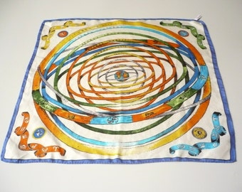 1980's Vintage Pure Silk Novelty Print Mini Zodiac Scarf With Hand Rolled Edges