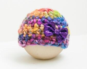 Newborn Girl Rainbow Flower Hat Beanie Baby Photo Prop RTS Muliticolor Easter