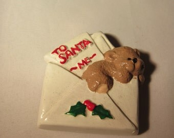 Plaster To Santa Letter with Bear Ornament/Magnet