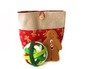 Linen/Cotton Small Project Knitting Bag with Pocket, crochet, storage, gift bag, with Christmas gingerbread man red fabric, wooden button