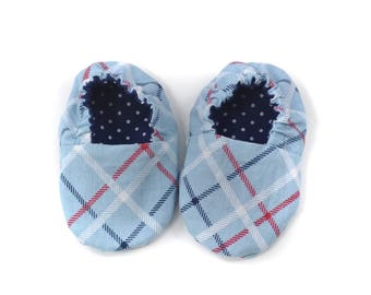 Adorable Reversible Infant Crib Shoes - Navy Dot & Blue All-Star Plaid - Shower Gift, Welcome Baby, Slippers, Baby Booties, Moccasins