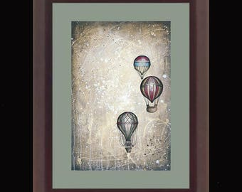 PRINT or GICLEE Reproduction -- Hot Air Balloons 12 x 18 -- Taking to the Skies II