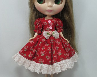 Handcrafted long sleeve dress outfit for Blythe doll 44-13
