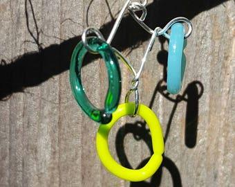 Chandelier fused glass earrings yellow blue green