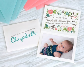 Girl birth announcement baby digital file instant download watercolor girl flowers coral pink aqua blue calligraphy paint