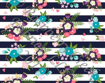 Navy Coral Mint and Green Floral Stripe 4 Way Stretch Jersey Knit Fabric, By Ella Randall for Club Fabrics