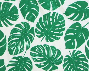 Green and White Tropical Leaves 4 Way Stretch JERSEY Knit Fabric, Modern Maritime By Corinne Wells for Club Fabrics, 1 Yard