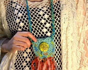 Crochet Amulet Bag- crystal bag - magical jewelry - hippie necklace - gypsy necklace -Festival - wiccan necklace - dreamcatcher bag