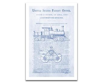 Locomotive Engine Patent Art Giclee on archival matte paper