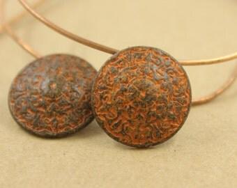 Metal Buttons - Mandala Metal Buttons , Rust Patina Color , Shank , 0.83 inch , 2 pcs