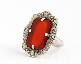 Sale - Vintage Art Deco Sterling Silver Carnelian & Marcasite Ring - 1930s Size 4 3/4 Statement Red Gem Shield Filigree Embossed Jewelry