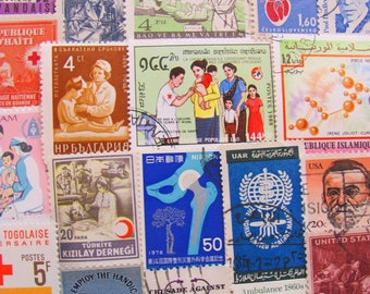 Get Well Soon 50 Vintage Medical Postage Stamps Doctor Nurse Care Giver Pharmaceutical Rx Dr PhD Medicine Physician US Worldwide Philately