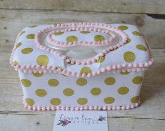 Metallic Gold Dots on White Flip Top Nursery Baby Wipe Case, You Choose Trim Color, Baby Shower Gift, Wipe Holder, Wipecase, Large Wipes Tub