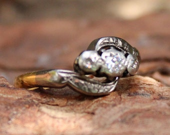 Vintage 18ct Gold Platinum Diamond Ring Jewellery Silver Engagement Jewelry Old