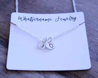 Hand Stamped Sterling Silver Initial Necklace, Small Round Charm Necklace, Mini Charm Necklace, Minimalist Jewelry, Sterling Silver Necklace
