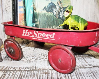 Antique Hy-Speed Toy pull wagon, Little red wagon, Childs red wagon, Vintage Red Wagon