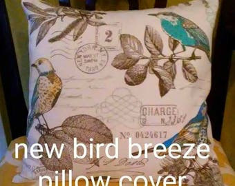 NEW Beautiful Waverly French Postage Bird   Pillow Cover-Housewares-Home Decor