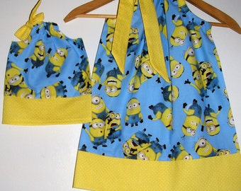 Doll and me SALE 10% off code is tilfeb Minions dress&matching American Girl doll dress  12,18 month 2t,3t,4t,5t,6,7,8,9,10.12