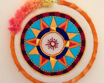Sunburst Hand Embroidered Hoop Art